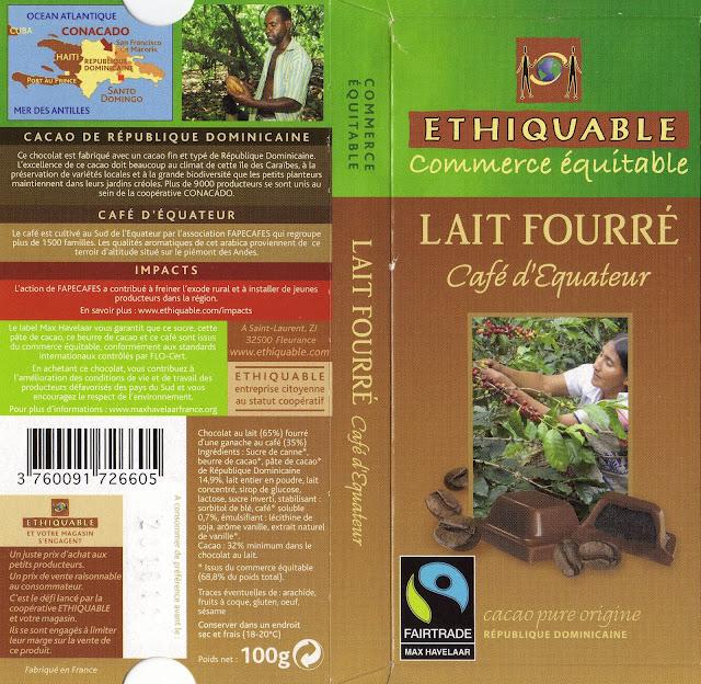 tablette de chocolat lait fourré ethiquable république dominicaine lait fourré café d'equateur