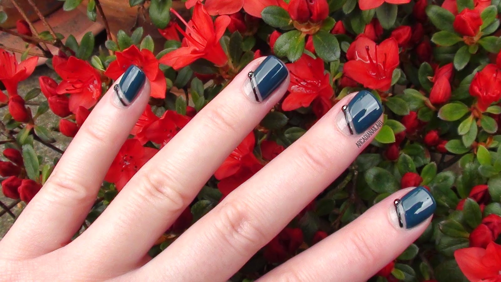 Elegant Dark Striping Tape Nails, ArcadiaNailArt
