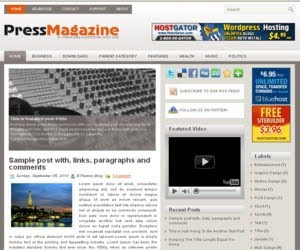 Press Magazine Blogger Template