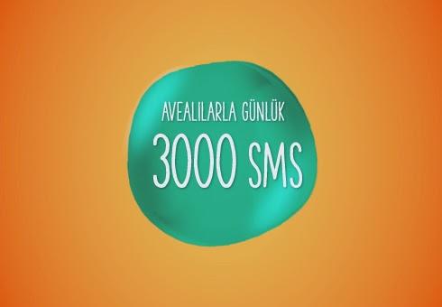 Avealılarla Günlük 3000 SMS Paketi Nasıl Alınır Bugün Avealı sevdiklerimle tüm gün mesajlaşmak istiyorum diyorsan bu paket tam sana göre bence. Avealılarla Günlük 3000 SMS Paketi'yle sadece 1TL'ye gün boyunca 3000 SMS gönderebilirsin. Paketi almak için hemen GUNLUK3000 yazıp 4545'e ücretsiz  gönderebilirsin.