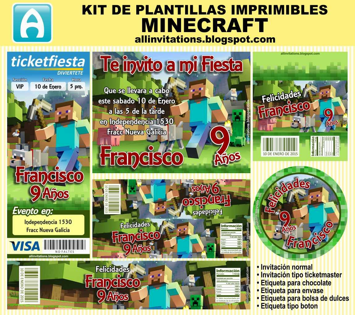 Kit Imprimible Minecraft | All Invitations