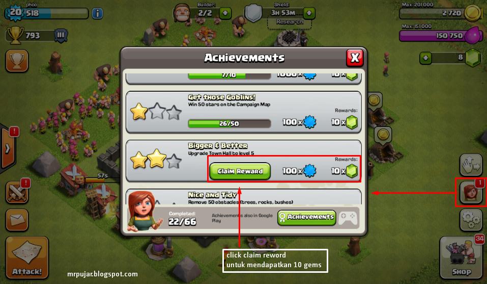 bonus gems dari achievements coc