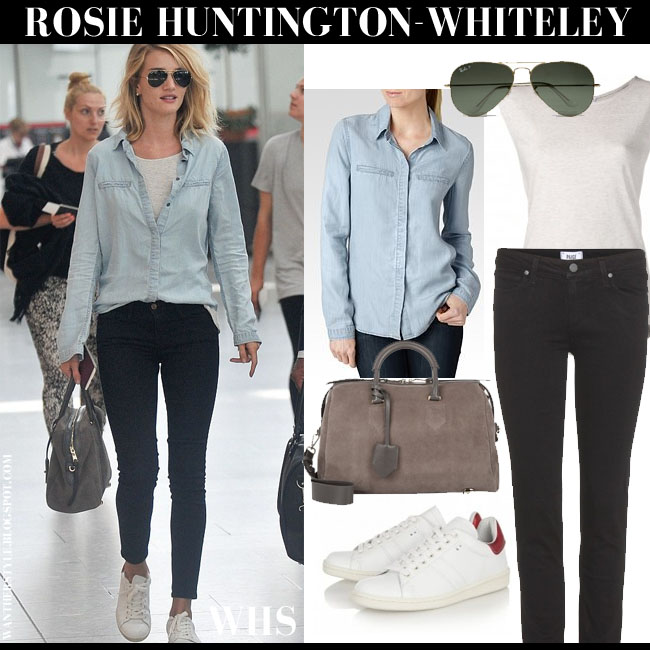 Rosie Huntington-Whiteley in light blue denim Paige Denim Bellamy shirt, black skinny Paige Denim Skyline jeans, white Isabel Marant Bart sneakers, aviator Ray Ban sunglasses and suede duffel Thakoon Cornelia what she wore june 5