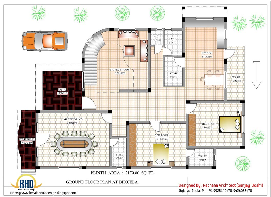 Luxury indian home design with house plan 4200 sq ft for Free floor plans