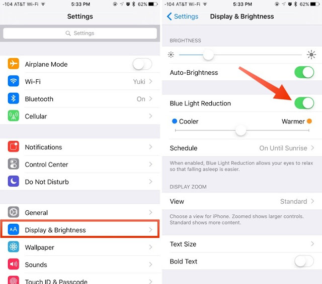 Activating Night Shift Mode on iOS9.3