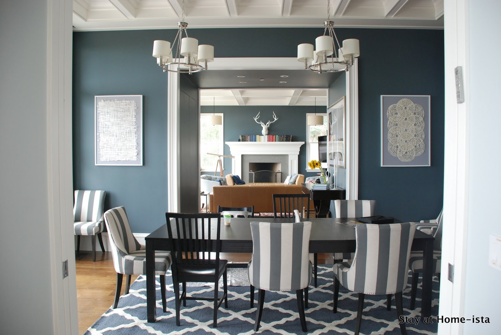 Blue Grey Walls And Moroccan Trellis Rug In Blue Grey From Rugs Enchanting Dining Room Carpet Size Decorating Design