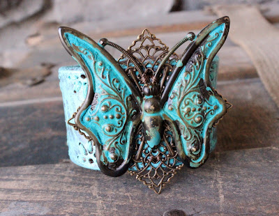 Turquoise Butterfly Leather Cuff by Ever Designs Jewelry Upcycled Bracelet Blue Aqua Verdigris