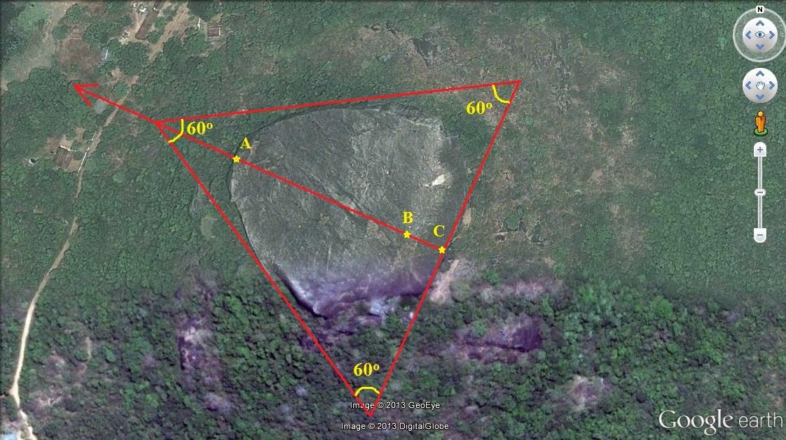 Геометрические параметры треугольной вершины скалы Пидурангала, размеры, углы, запретная альтернативная история