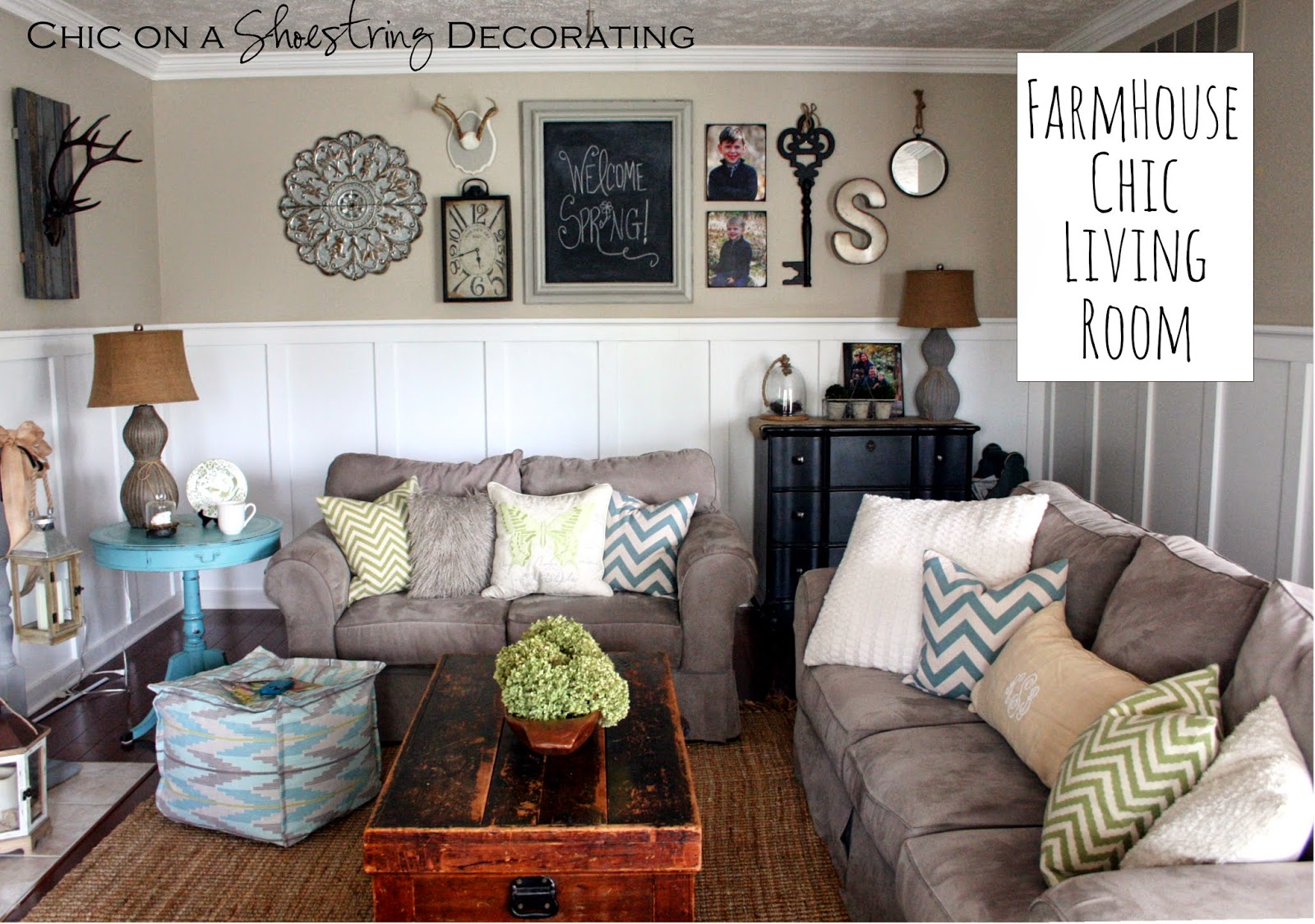 Chic on a shoestring decorating my farmhouse chic living room reveal Design my living room