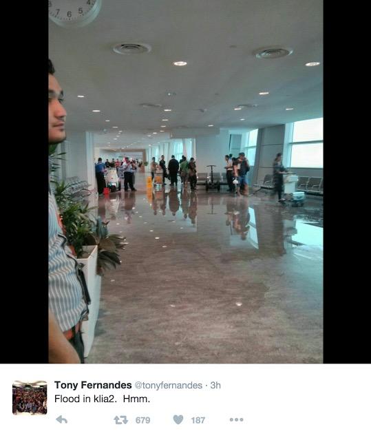 Jawapan MAHB Isu Tony Fernandes Tweet Gambar 'Banjir' Dalam KLIA 2