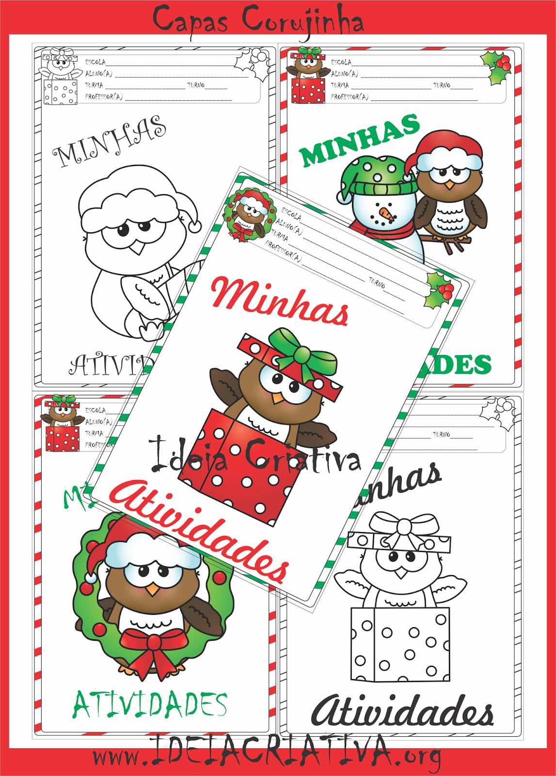 Capas para Atividades Corujinhas Natalinas para Imprimir Grátis