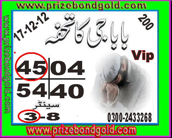 Prizebondguru Prize Bond Gold Guess Paper Multan