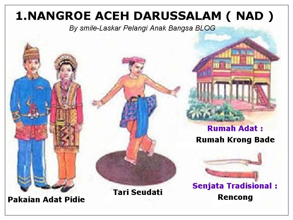 INDONESIA ( 33 PROVINSI : PAKAIAN, TARIAN, RUMAH ADAT, SENJATA ...