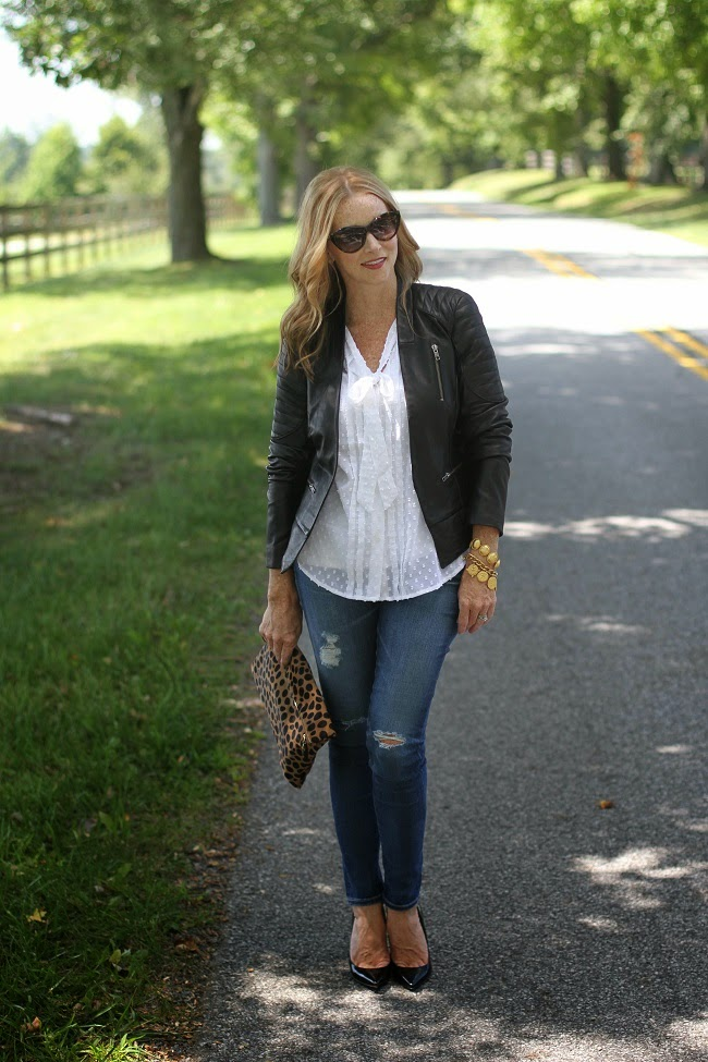 halogen leather jacket, loft swiss dot blouse, ag jeans, louboutin heels, julie vos necklace, saint laurent sunglasses