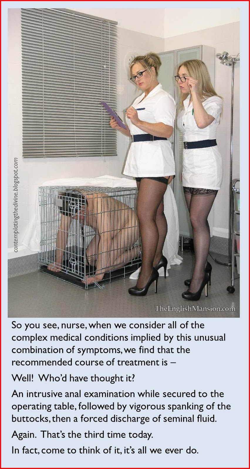 The usual treatment by femdom nurses