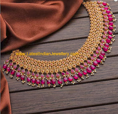Uncut Diamond Ruby Necklace
