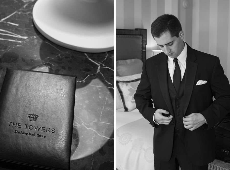 new york palace hotel book, candid groom putting on jacket before wedding ceremony