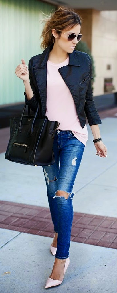 Pink Tee with Leather Moto and Ripped Jeans | Chic Street Outfits