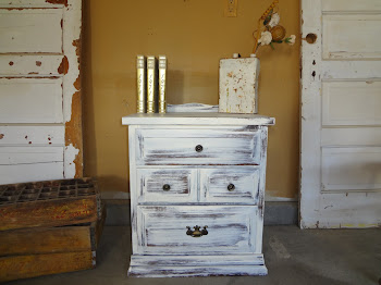 Shabby Chic White End Table-$95