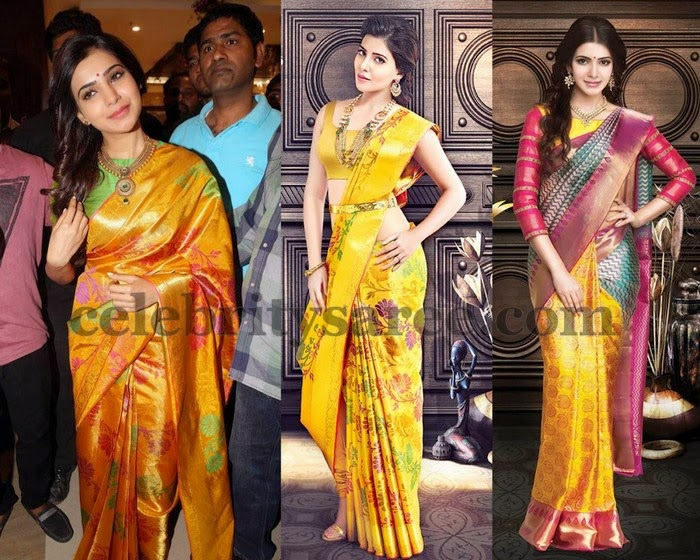 Samantha Mustard Silk Sarees Collection