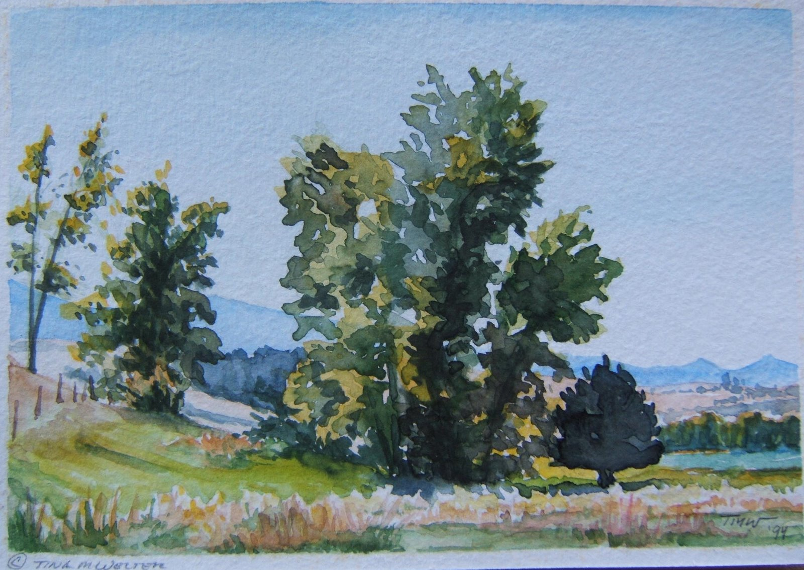 """Trio"" 5""x 7"" watercolor on paper, ©1994 Tina M Welter  Landscape watercolor painting of fall trees near Drummond, Montana"
