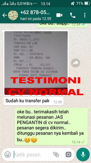 TESTIMONI PEMBELI JAS PENGANTIN/ FORMAL CV NORMAL