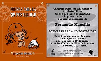 Fernando Mansilla, Cangrejo Pistolero, Gracia Iglesias, Madrid, Arrebato libros, Poemas para la no posteridad, poemario, poesía