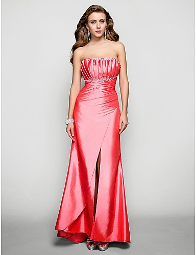 Vestido rojo de tafetán largo