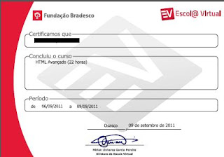 Certificado Escola Virtual FB