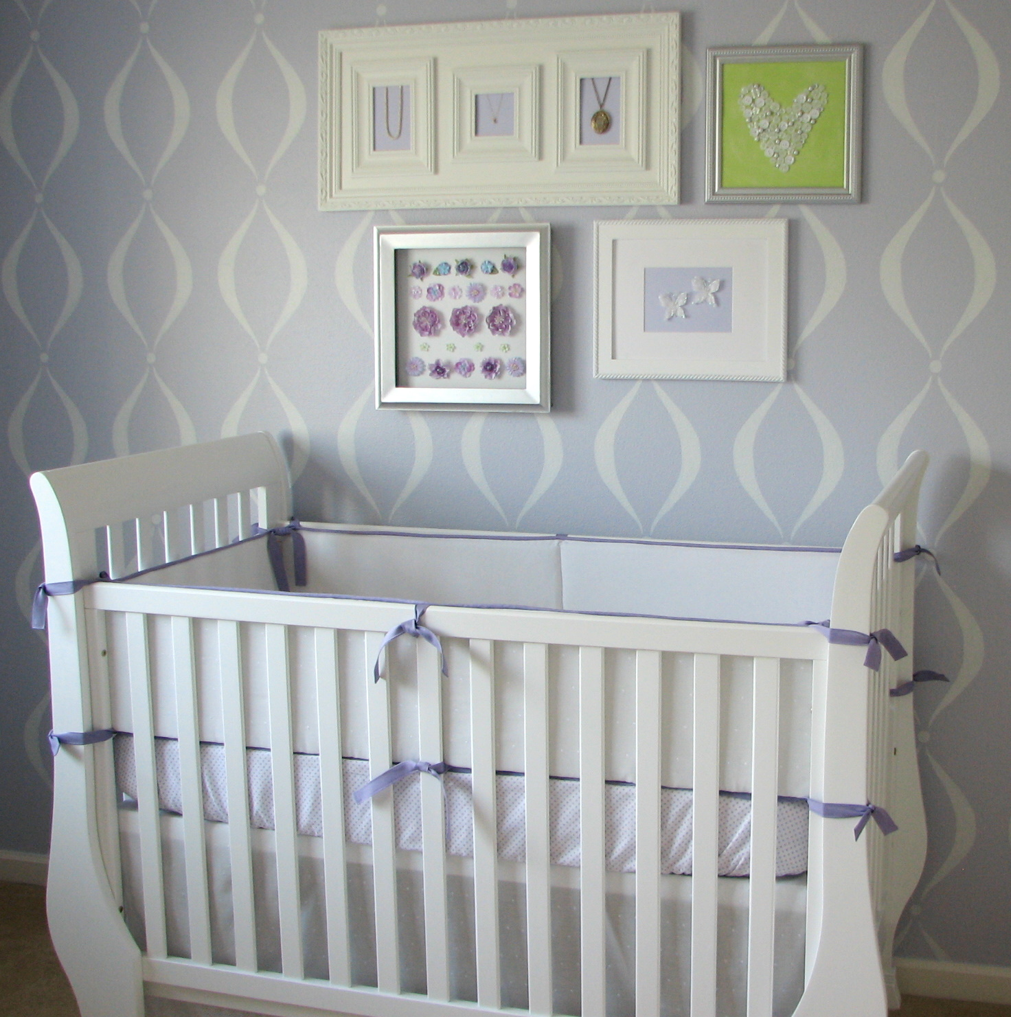 Baby crib gertie - There You Have It Crisp And Clean With Just The Right Pop Of Color To Coordinate With The Lavender Walls Hopefully My Little Girl Will Love Sleeping In It