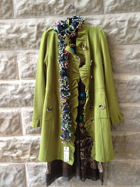 Boiled wool green coat!!
