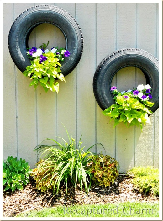 She said repurposed inspiration tires - Painted tires for flowers ...