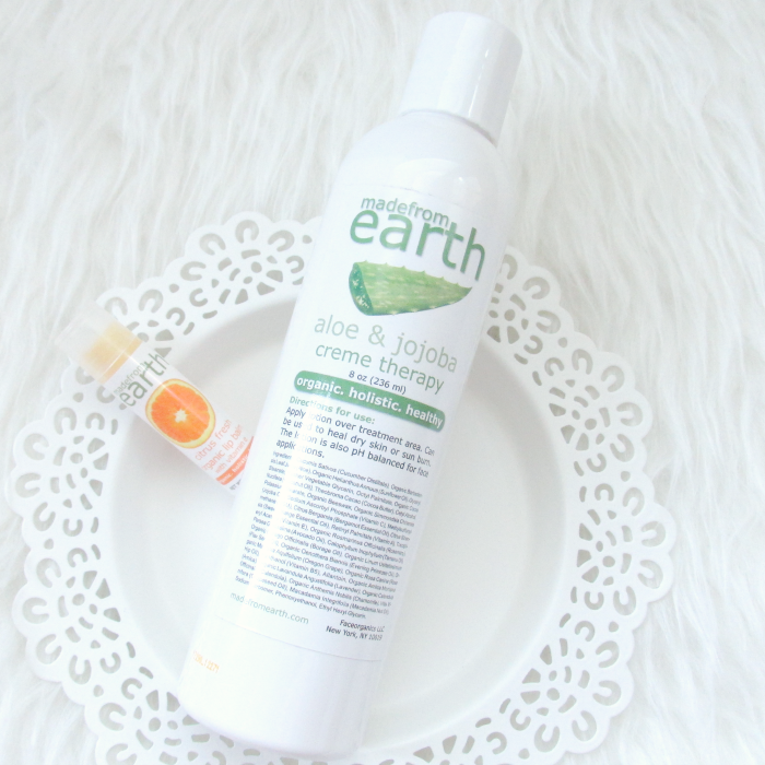 Review & Giveaway: made from earth - Aloe & Jojoba Cream Therapy Bodylotion & Citrus Fresh Lip Balm