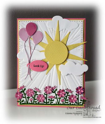 Our Daily Bread Designs, , Mini Tag Sentiments, Mini Tags, Flower Box Fillers, Sunburst Background, Matting Circles, Happy Birthday, Clouds and Raindrops, Designed by Diana Nguyen