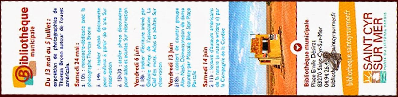 Un des marque-pages édités à l'occasion de l'ensemble de l'événement (verso)