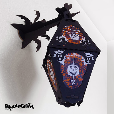 Eight sided vintage-style paper lantern hangs on Bindlegrim wall pole for gothic interior Halloween decor for 2014