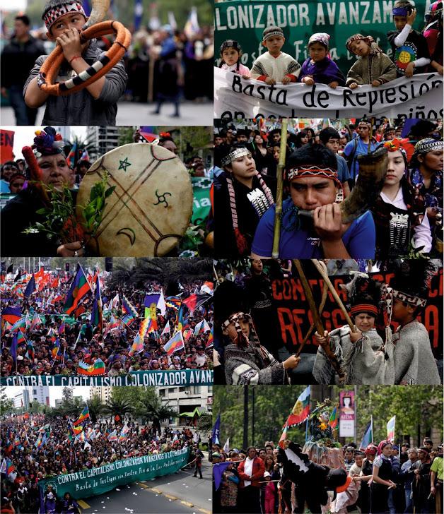 Fotografias de la Marcha Mapuche en Santiago (Ngulu Mapu) el pasado 10 de Octubre .