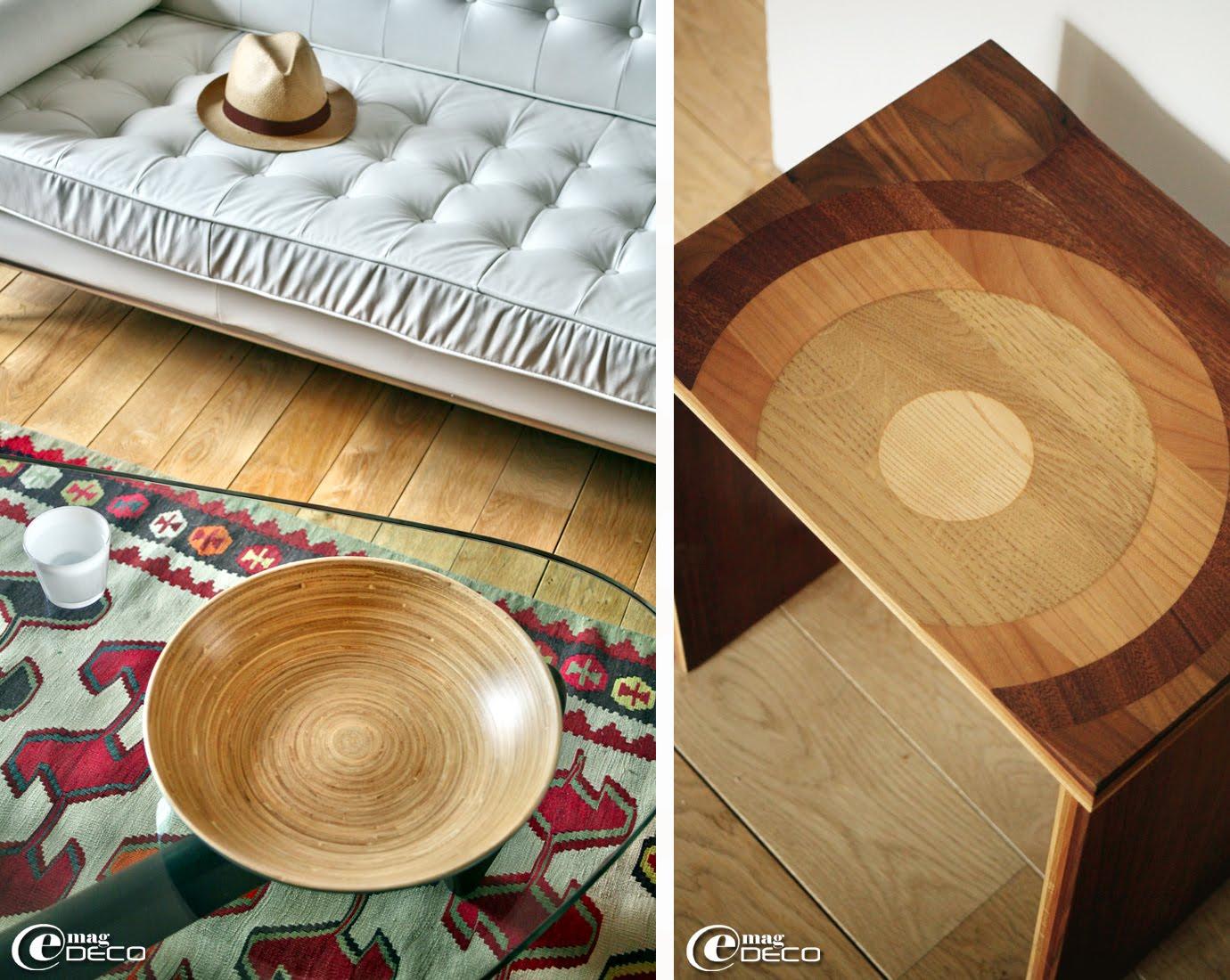 Plat en bambou posé sur une table basse du designer Isamu Noguchi