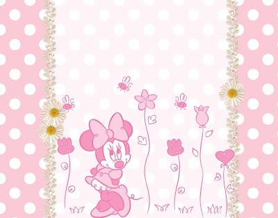 Tarjeta de Minnie con fondo rosa y lunares blanco más flores