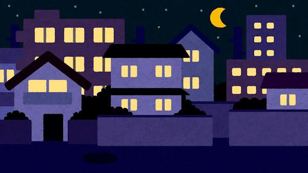 夜の住宅街のイラスト(背景素材)