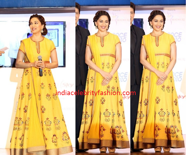 Madhuri Dixit in Yellow long Anarkali
