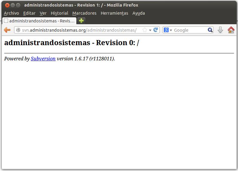 prueba de servidor subversion recien instalado
