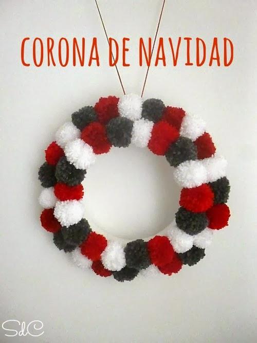 Corona Navidad Pompones Pom Pom Chistmas wreath