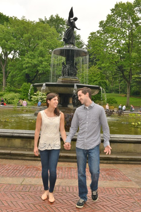 Angela and Dean walking at Bethesda Fountain
