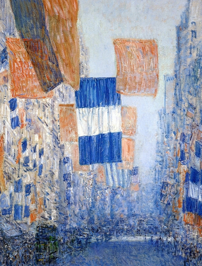 Childe Hassam 1859-1935 - American painter - Avenue of the Allies 1918 - The Impressionist Flags
