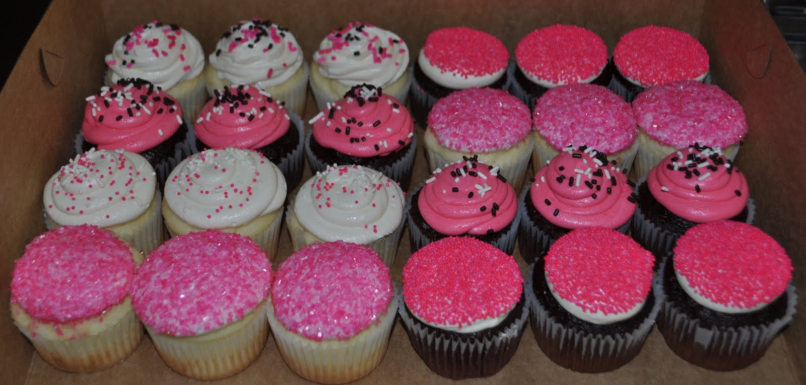 Pink And Black Baby Shower Cupcakes
