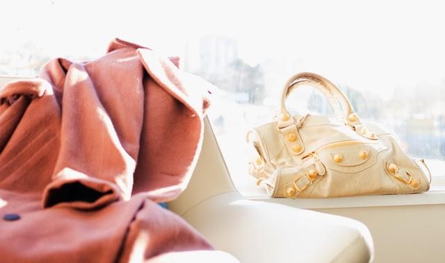 Vancouver Fashion blogger Jasmine Zhu, obakki long cashmere coat, balenciaga sahara city with giant gold hardware
