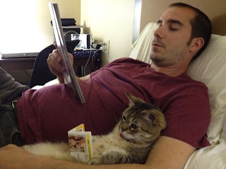 Funny Cat owner Reading on the bed