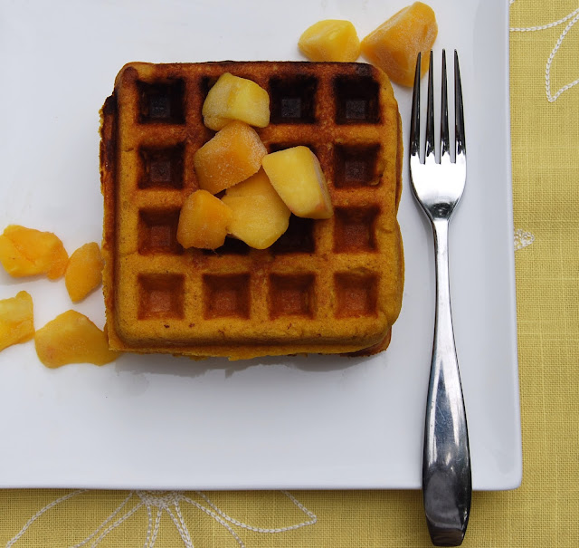 Mango Waffles, vegan and gluten-free