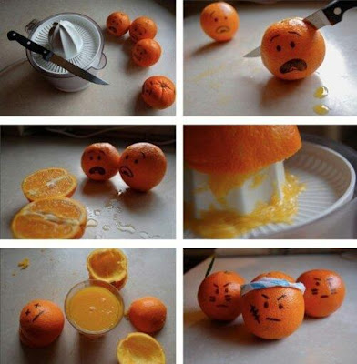 Oranges Being Horrified at Being Cut and Juiced